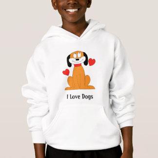 Cartoon-Hund mit Herzen Hoodie
