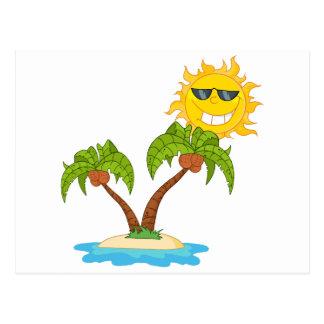 - Cartoon-Insel mit zwei Palme und Cartoon Sun Postkarte