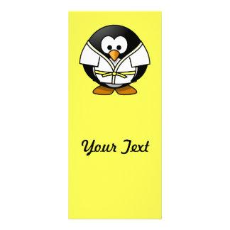 Cartoon-Judopenguin-Gelb-Hintergrund Werbekarte