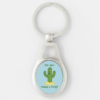 Cartoon-Kaktus-Typ (benötigen Sie eine Umarmung?) Schlüsselanhänger