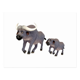 Cartoon-Kap-Büffel-Vater u. Sohn Postkarte