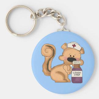 Cartoon-Krankenschwestereichhörnchen keychain Standard Runder Schlüsselanhänger