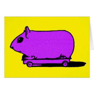 Cartoon-lila Meerschweinchen-Hamster-leere Karte