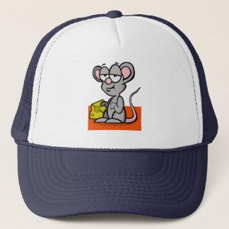 Cartoon-Maus mit Käse Truckerkappe