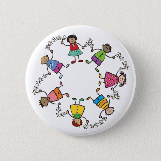 Cartoon-niedliche glückliche Kinderfreunde um die Runder Button 5,1 Cm