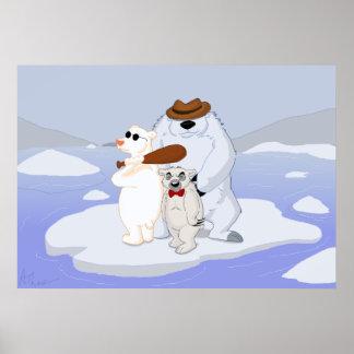 Cartoon-polarer Bärn-Gruppe Poster
