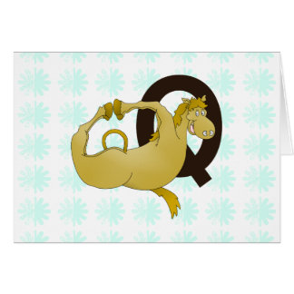 Cartoon-Pony des Monogramm-Q personalisiert Karte
