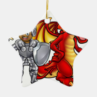 Cartoon-Ritter und Drache Keramik Ornament