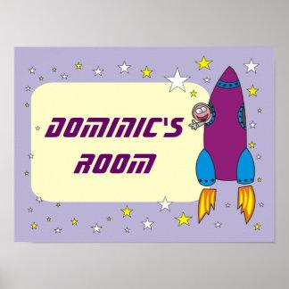 Cartoon Rocket in den Raum-personalisierten Poster
