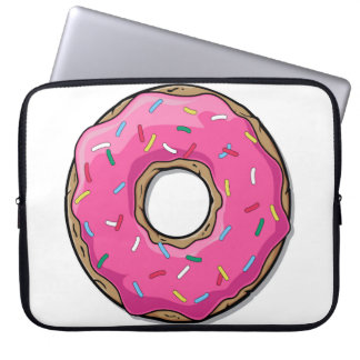 Cartoon-rosa Krapfen mit besprüht Laptop Sleeve