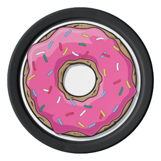 Cartoon-rosa Krapfen mit besprüht Poker Chip Set