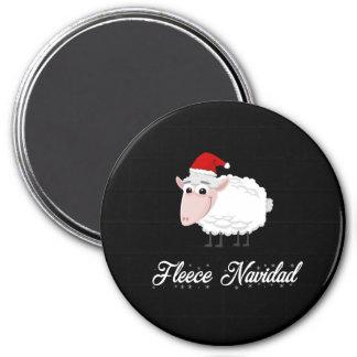 Cartoon-Schaf-Fleece Navidad Runder Magnet 7,6 Cm