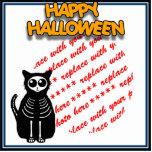 Cartoon-Skeleton Katze, Schläger u. Freistehende Fotoskulptur