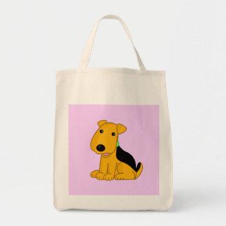 Cartoon-smiley-Welpeairedale-Terrier-HundeTasche! Tragetasche