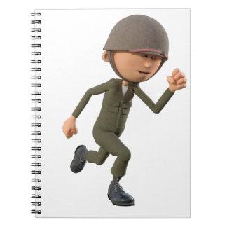 Cartoon-Soldat-Betrieb Notizblock