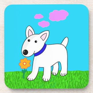 Cartoon-Stier-Terrier-Hund mit Getränkeuntersetzer