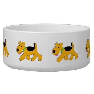 Cartoon Trotting Airedale-Terrier-Hundeschüssel Napf