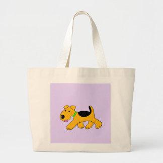 Cartoon Trotting Airedale-Terrier-HundeTasche Jumbo Stoffbeutel