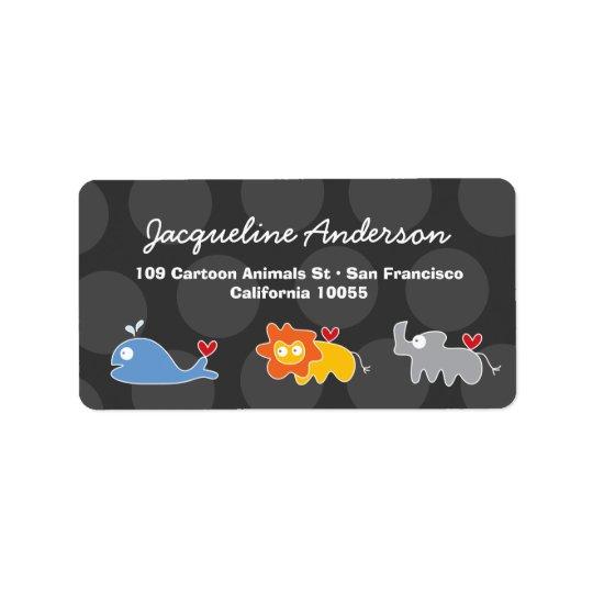 Cartoon-Wal-Löwe-Nashorn-Adressen-Etiketten Adressaufkleber