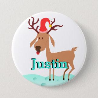 Cartoon-Weihnachtsren-Strumpf-Namen-Umbau Runder Button 7,6 Cm