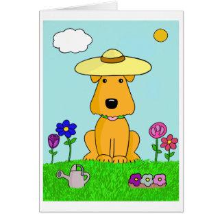Cartoonairedale-Terrier-Hund in der Garten-Karte Karte