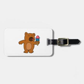 Cartoonbär isst Eiscreme Gepäckanhänger