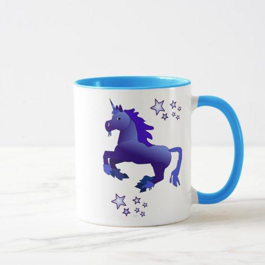 Cartoonblauer Unicorn und Stern-Tasse Tasse