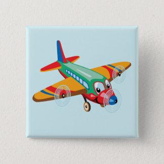 Cartoonflugzeug Quadratischer Button 5,1 Cm