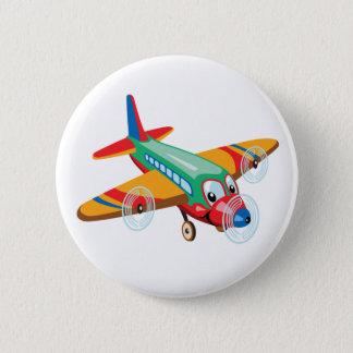 Cartoonflugzeug Runder Button 5,7 Cm