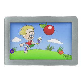 Cartoonillustration eines Jungen, der eine Tomate Rechteckige Gürtelschnalle