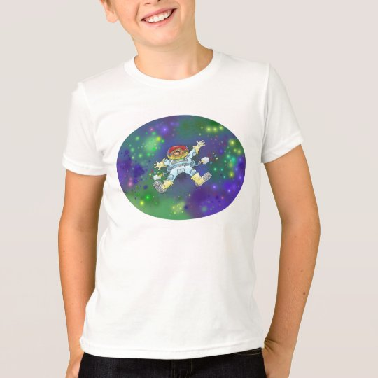 Cartoonillustration eines Raumfahrers auf einem T-Shirt