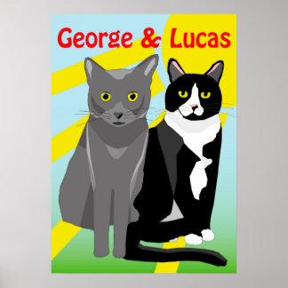 Cartoonkatzenplakat Georges und Lucas niedliches Poster