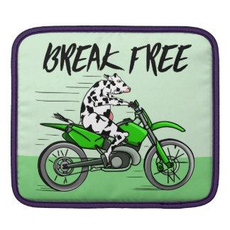 Cartoonkuh, die ein Motorrad reitet Sleeve Für iPads