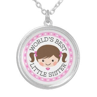 Cartoonmädchen-Braunhaar der Weltbestes kleinen Halskette Mit Rundem Anhänger