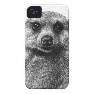 Cas audacieux de Coque-Compagnon de Meerkat Blackb Étuis iPhone 4