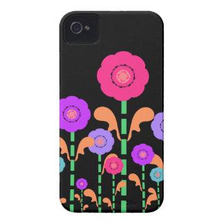 Cas audacieux noir de Blackberry de fleurs Coques iPhone 4