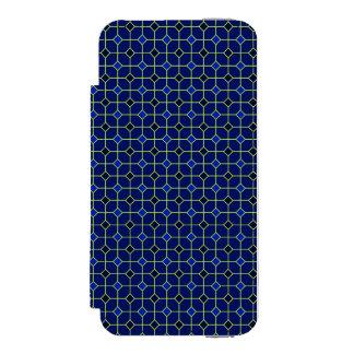 Cas de conception de tuiles d'antiquité de bleu coque-portefeuille iPhone 5 incipio watson™