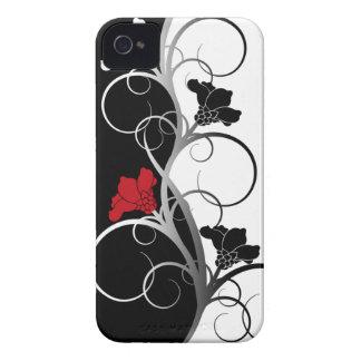 Cas de Coque-Compagnon de l'iPhone 4/4S fleurs noi