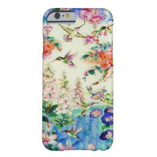 Cas de l'iPhone 6 de colibris et de fleurs Coque iPhone 6 Barely There
