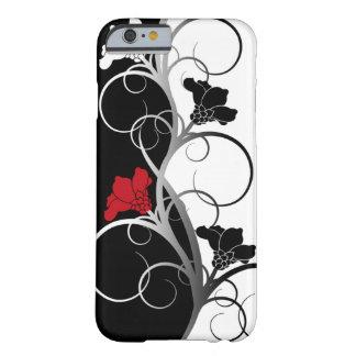 Cas de l'iPhone 6 fleurs noires/blanches Coque Barely There iPhone 6