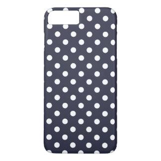 cas plus de l'iPhone 7 bleus de point de polka de Coque iPhone 8 Plus/7 Plus