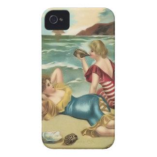 Cas vintage de Coque-Compagnon de bébés de plage d Étui iPhone 4
