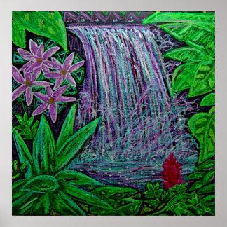 Cascade d'impression de toile dans la forêt tropic poster