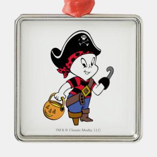 Casper im Piraten-Kostüm Quadratisches Silberfarbenes Ornament