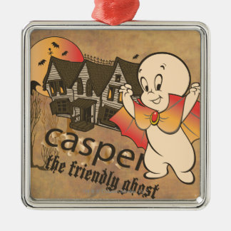 Casper und Spuk Haus Quadratisches Silberfarbenes Ornament