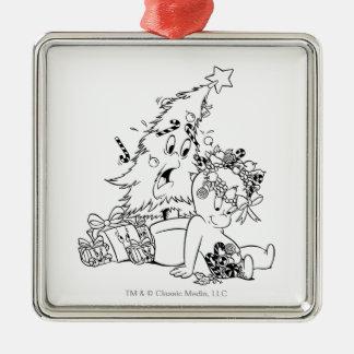 Casper-Weihnachtsbaum Quadratisches Silberfarbenes Ornament