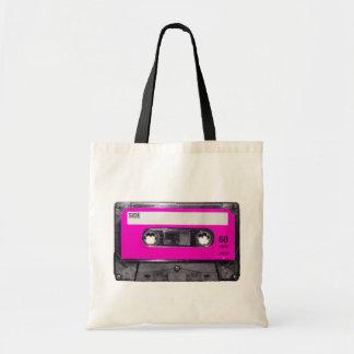 cassette d étiquette de rose des années 80 sac en toile
