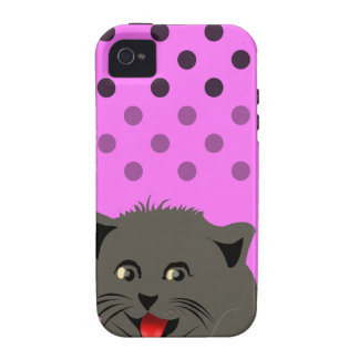 Cat_polka dot_baby Girl_pink_desing Case-Mate iPhone 4 Cover