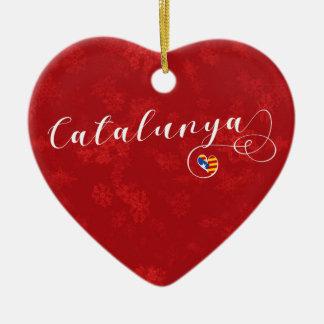 Catalunya Herz, Weihnachtsbaum-Verzierung, Keramik Ornament