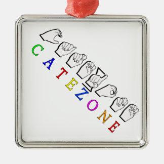 CATEZONE FINGERSPELLED ASL NAMENSzeichen Quadratisches Silberfarbenes Ornament